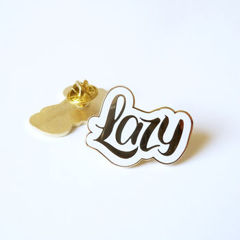 Lazy Gold Enamel Pin