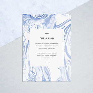 Blue Marbled Wedding Invitations
