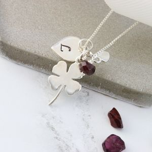 Personalised Good Luck Charm With Birthstones Necklace - necklaces & pendants