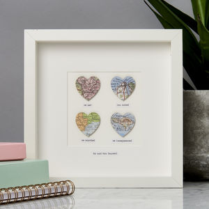 Personalised Four Hearts Message Map Picture