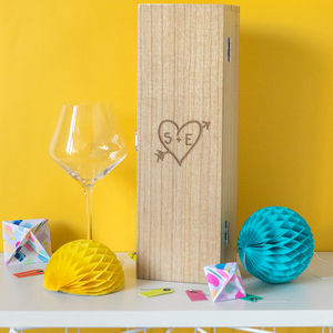 Couples Carved Heart Anniversary Personalised Wine Box - wine racks & storage
