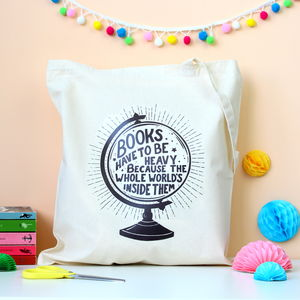 Book Lover Globe Tote Bag - women's accessories