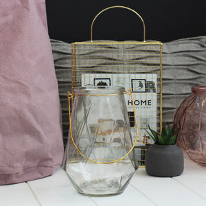 Geometric Glass Lantern With Gold Handles