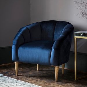 Teal Velvet Tulip Chair - armchairs