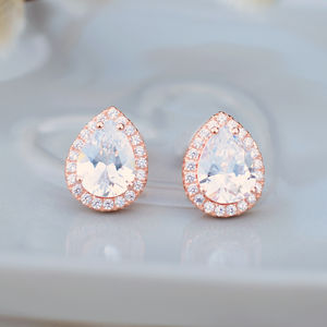 Teardrop Cubic Zirconia Stud Earrings - gifts for her