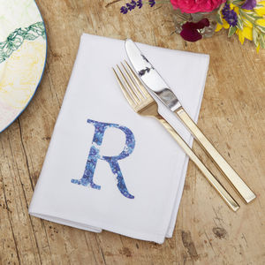 Personalised Floral Initial Napkin - table linen