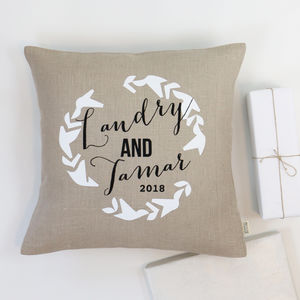 Personalised Wedding Wreath Cushion - 4th anniversary: linen