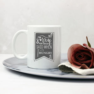 'Hangry' Typographic Apology Mug
