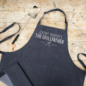 Personalised Grey Denim Bbq Apron - plant whisperer