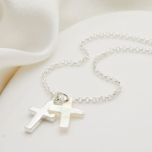 Holy Communion Mother Of Pearl Cross Necklace
