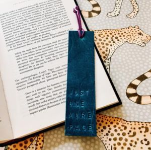 'Just One More Page' Leather Book Mark - book lover