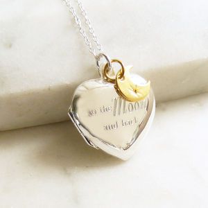 'To the moon and back' Silver Heart Locket Necklace