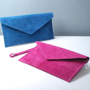 Personalised Suede Envelope Clutch Bag - for her