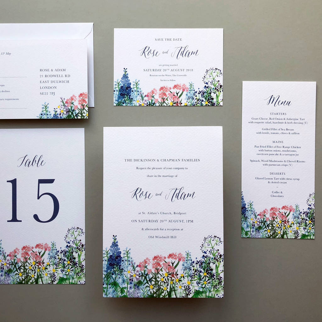 Samples Of Wedding Invites: Calligraphy And Flowers Wedding Invite Sample By Hollyhock