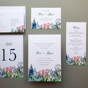 Calligraphy And Flowers Wedding Invite Sample
