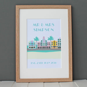 Personalised 'Art Deco' Miami Beach Print - dates & special occasions