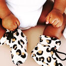 Beige Leopard Print Organic Cotton Drawstring Baby Boot