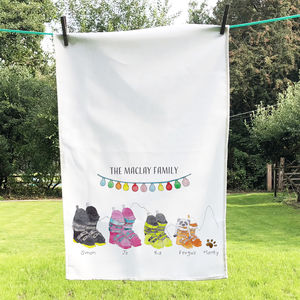 Personalised Ski Boot Family Tea Towel