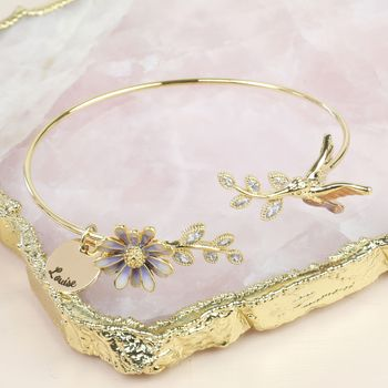 Personalised Daisy And Hummingbird Open Bangle