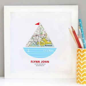 Personalised Baby Boy Map Boat Art