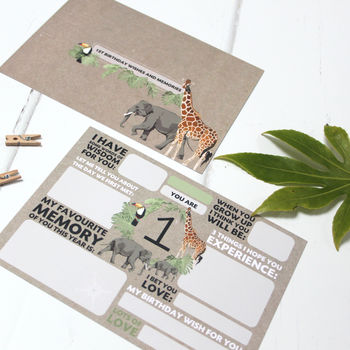 First Birthday Time Capsule Cards: Safari