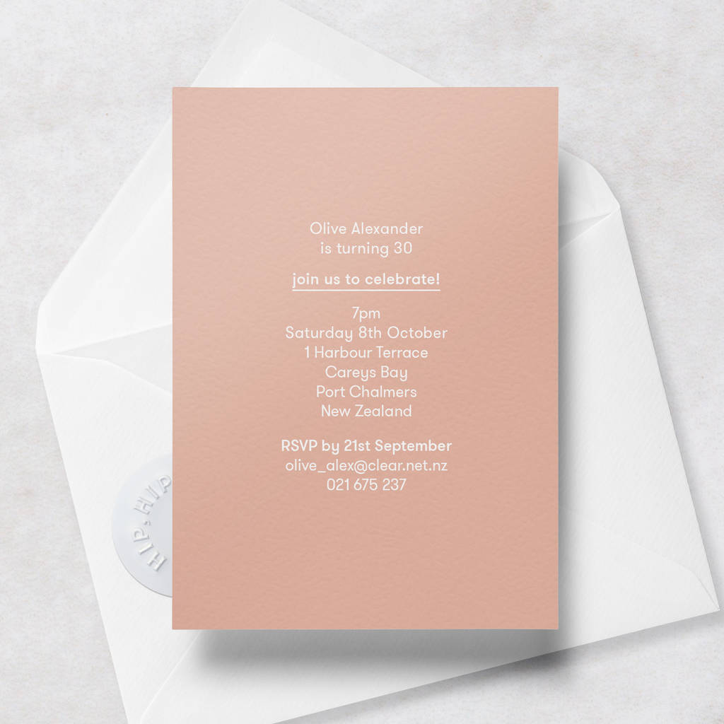 Personalised Th Birthday Invitations With Envelope By Crumco - Birthday invitation nz