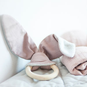 Wooden Teething Ring With Organic Cotton - gifts for babies