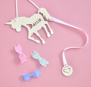 Personalised Girls Unicorn Hair Bow And Clip Hanger - unicorns