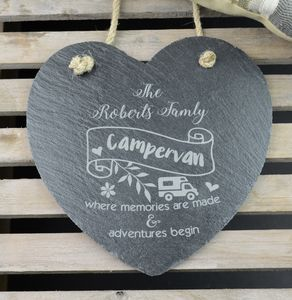 Personalised Campervan Engraved Slate Heart - decorative accessories
