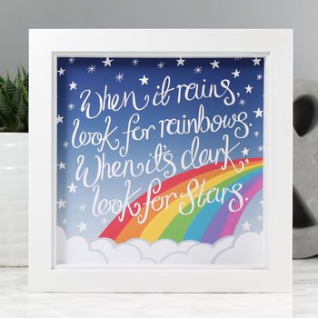 'Look For Rainbows' Personalised Print