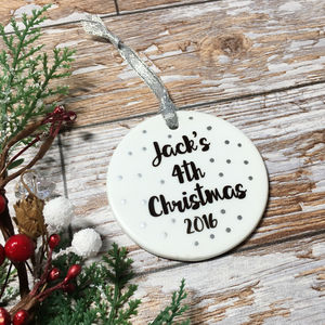 Personalised Name And Year Christmas Tree Bauble