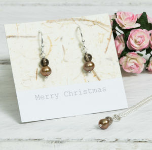 Handmade Chocolate Pearl Drop Earrings