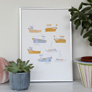 Harbour Boats A4 Art Print
