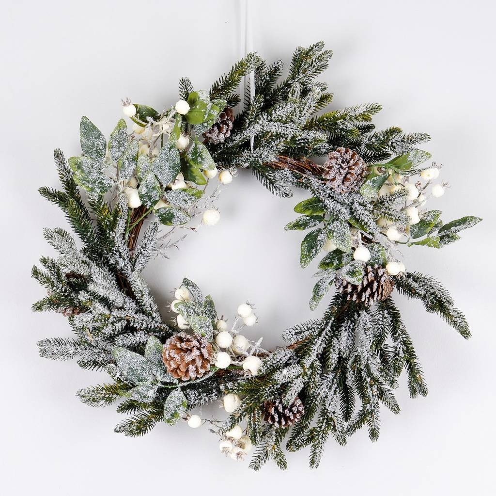Snow berry fir and pine cone christmas wreath by ella Designer christmas wreaths uk