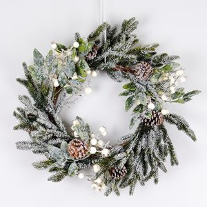 Snow Berry Fir And Pine Cone Christmas Wreath - wreaths