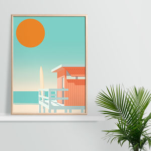 California Lifeguard Beach Hut, Surfing Art Print