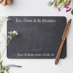 Personalised Slate Wedding Cheese Board - cheese boards & knives