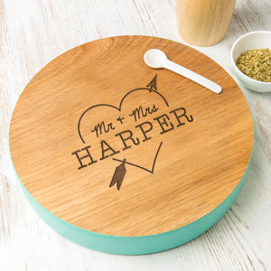 Personalised Couples Heart And Arrow Solid Wood Platter - summer sale