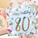 80th Birthday Botanical And Gold Greeting Card