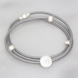 Personalised Leather Wrap Disc Bracelet