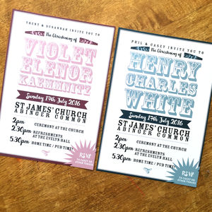Vintage Text Christening Invitation - invitations