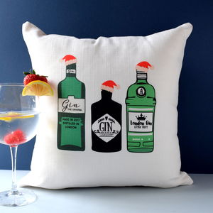 Three Christmas Gin Cushion - bedroom