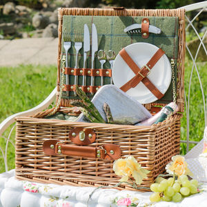 Personalised Two Person Green Tweed Picnic Hamper - picnic hampers & baskets