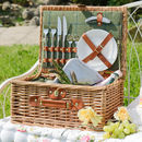 Personalised Two Person Green Tweed Picnic Hamper