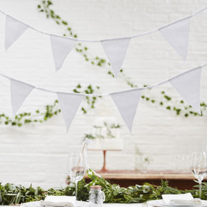 White Fabric Triangle Wedding And Party Bunting