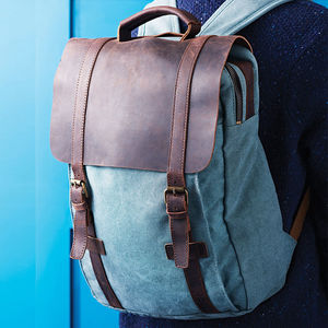Canvas And Leather Foldover Backpack Personalised - stylist live collection