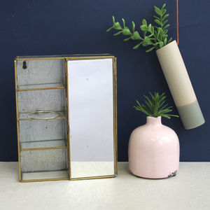 Rectangular Brass Mirror And Shelf Box - mirrors