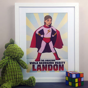 Personalised Super Girl Hero Comic Book Style Print - winter sale