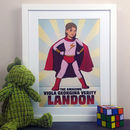 Personalised Super Girl Hero Comic Book Style Print