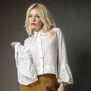 White Cotton Anglaise Angel Sleeve Blouse - women's fashion